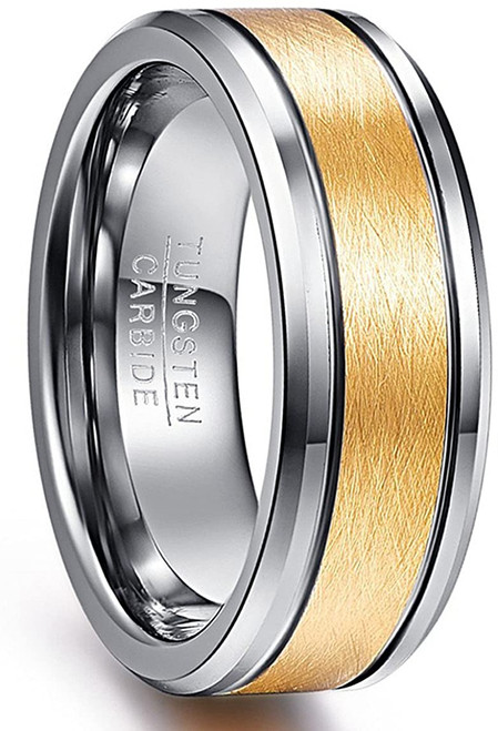 Men's 8mm 18k Gold Plated Tungsten Rings Brushed Wedding Band Beveled Edge Comfort Fit Size 7-12