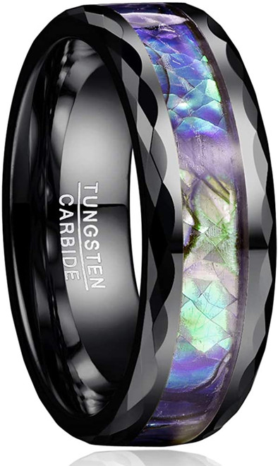 8mm Abalone Shell Tungsten Carbide Rings Unisex Wedding Bands Faceted Edge Comfort Fit Size 5-14