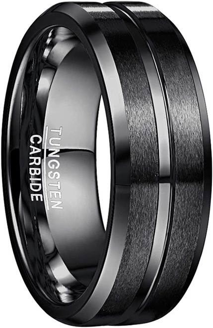 Men's 8mm Tungsten Carbide Ring Black Matte Finish Beveled Edge Wedding Band Size 4 to 17