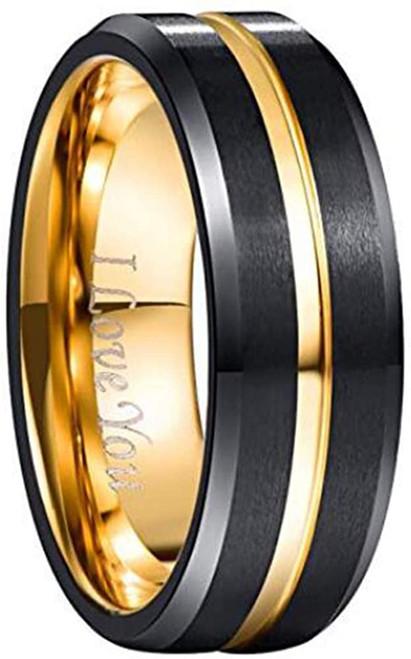 Men's 8mm Tungsten Carbide Ring Gold & Black Matte Finish Beveled Edge Wedding Band Size 4 to 17