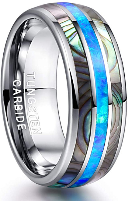 Men's 8mm Tungsten Carbide Ring Real Blue Opal and Abalone Shell Wedding Engagement Ring Band Size 5 to 15