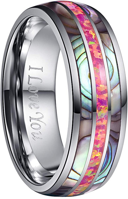 Men's 8mm Tungsten Carbide Ring Real Red Opal and Abalone Shell Wedding Engagement Ring Band Size 5 to 15