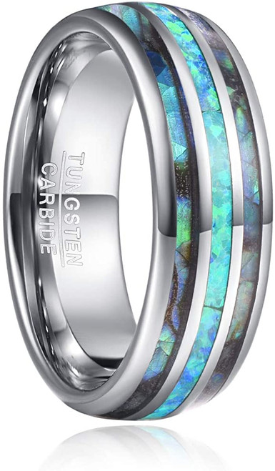 Men's 8mm Tungsten Carbide Ring Real Green Opal and Abalone Shell Wedding Engagement Ring Band Size 5 to 15