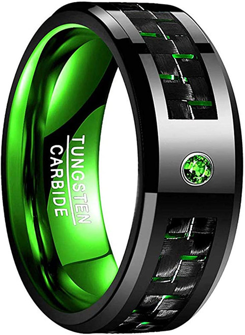Men's 8mm Green Carbon Fiber Tungsten Carbide Ring Comfort Fit Wedding Band Size 7 to 12