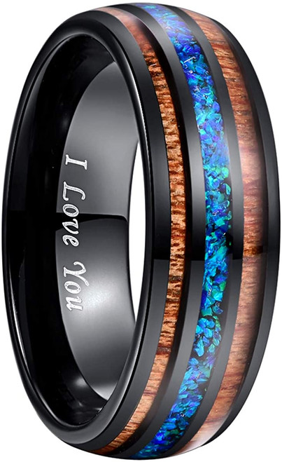 Handmade Crushed Blue Opal Tungsten Wedding Ring with Hawaii Koa Wood Domed Black Size 5-14