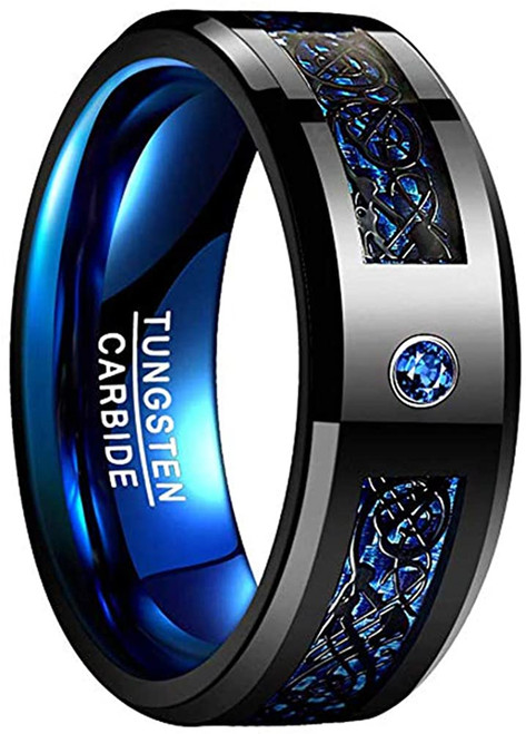 Men's 8mm Blue Carbon Fiber Black Celtic Dragon Tungsten Carbide Ring Comfort Fit Wedding Band Size 7 to 14