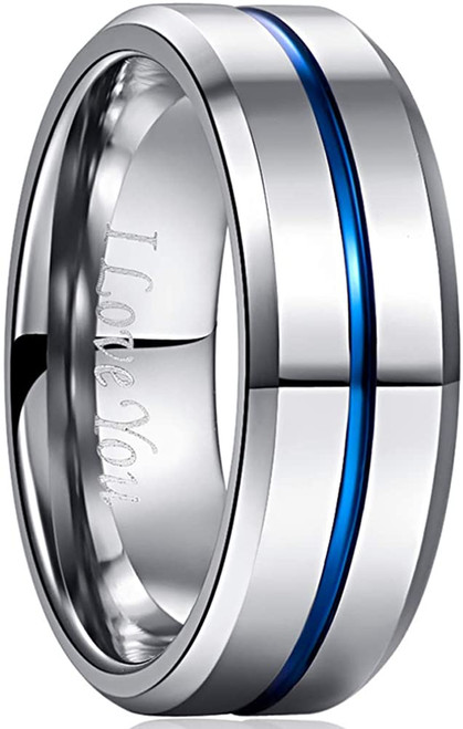 Men's 8mm Grooved Silver and Blue Tungsten Carbide Ring Matte Finish Beveled Edge Wedding Band Size 6 to 14