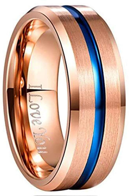 Men's 8mm Grooved Rose Gold and Blue Tungsten Carbide Ring Matte Finish Beveled Edge Wedding Band Size 6 to 14