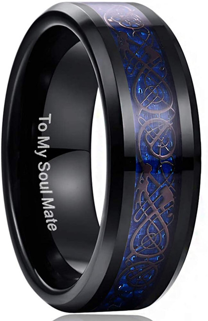 Men's 8mm Black and Blue Tungsten Carbide Wedding Ring Celtic Dragon Inlay Polished Finish Size 5-15