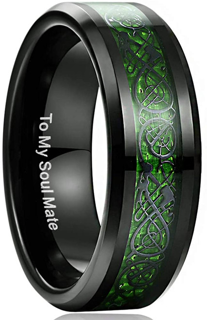 Men's 8mm Black and Green Tungsten Carbide Wedding Ring Celtic Dragon Inlay Polished Finish Size 5-15
