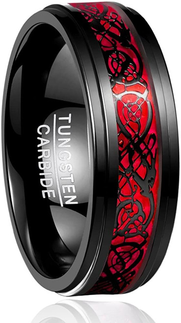 Men's 8mm Black and Red Tungsten Carbide Wedding Ring Celtic Dragon Inlay Polished Finish Size 5-15