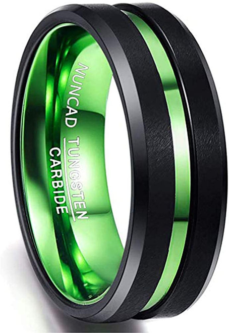 Men's 8mm Black and Green Tungsten Carbide Ring Matte Finish Beveled Edges Comfort Fit Size 6-16