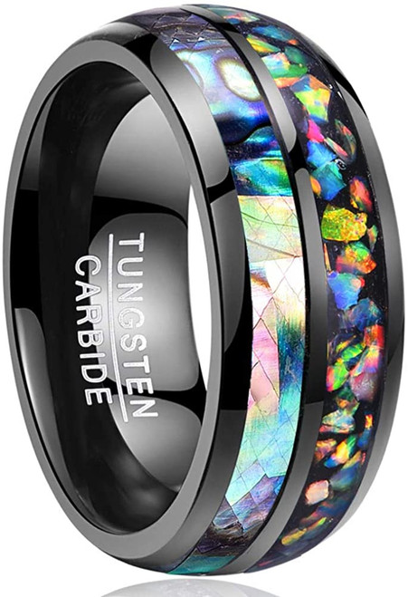 8mm Black Tungsten Carbide Wedding Ring Abalone Shell and Fire Opal Engagement Band for Men and Women Size 7 to 12