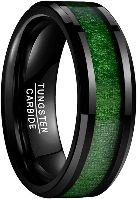 8mm Green Maple Wood Black Tungsten Carbide Ring High Polished Finish Comfort Fit
