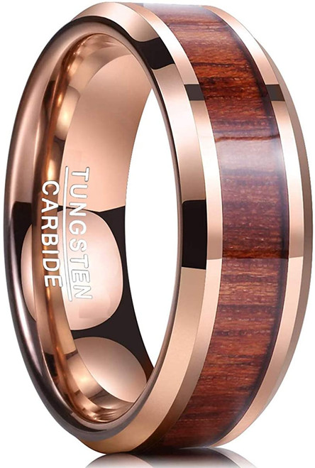 8mm Hawaiian Koa Wood Tungsten Carbide Ring 18K Rose Gold Plated Wedding Band for Men Women Comfort Fit Size 7-12