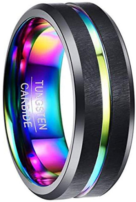 8mm Men's Tungsten Carbide Ring Multi-Color Plated Grooved Black Matte Finish Beveled Edge Size 7 to 12