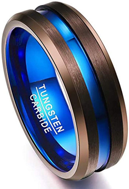 Men's 8mm Brown Tungsten Carbide Wedding Band Ring Blue Inside Comfort Fit Size 7 to 12