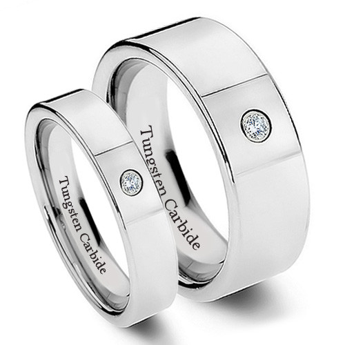 Tungsten Wedding Band Set, Chrome Finish, Stylish Design with CZ Stone, 8MM and 6MM