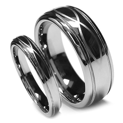 Tungsten Wedding Band Set, Infinity Ring Set, Chrome High Polish Finish, 8MM and 6MM