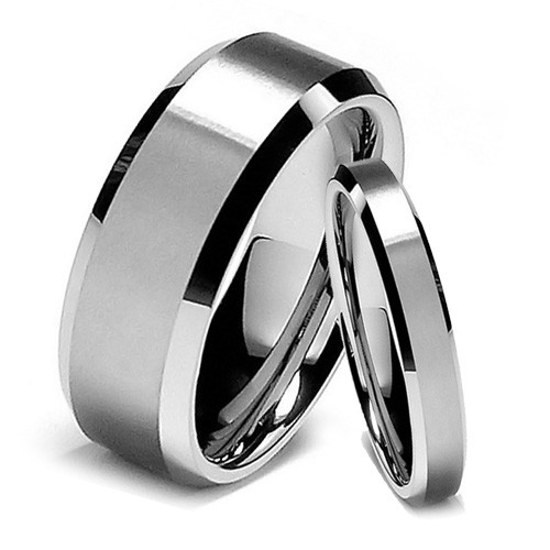 Tungsten Wedding Band Set, Classy Ring Set, Flat Top, Bevel Edge, High Polish Finish, 8MM and 6MM