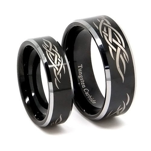 Black Tungsten Wedding Band Set, Titanium Top Matching Rings, Laser Tribal Design, 8MM and 6MM