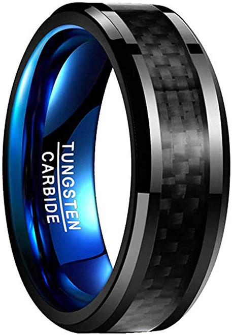 8mm Black Carbon Fiber Wedding Band for Men Blue Plated Tungsten Carbide Ring Beveled Edge Comfort Fit Size 7-12