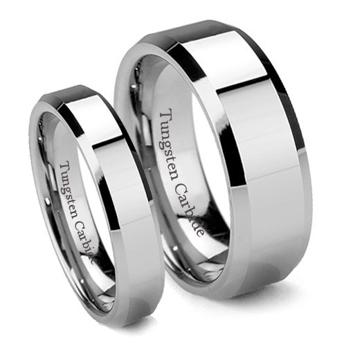 Tungsten Wedding Band Set, Classy Matching Set, Flat Top, Bevel Edge, High Polish, 8MM and 6MM