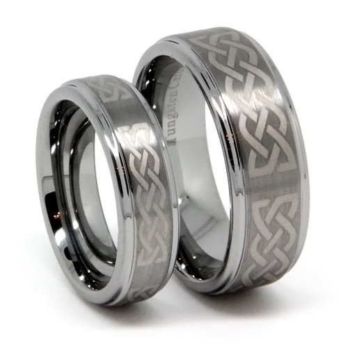 Tungsten Wedding Band Set, Classy Laser Infinity Matching Set, Flat Top, High Polish, 8MM and 6MM