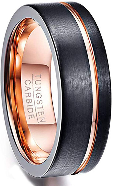 Black Brushed Wedding Band for Men 8mm Rose Gold Plated Groove Tungsten Carbide Ring Comfort Fit Size 5-14