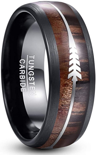 8mm Mens Silver Arrow Hawaiian Koa Wood Tungsten Carbide Ring Domed Black Wedding Band with Brushed Edge Size 7-14