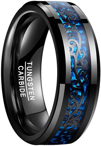 Mens 8mm Blue Carbon Fiber Tungsten Carbide Wedding Rings with Black Vine Inlay Size 7-12
