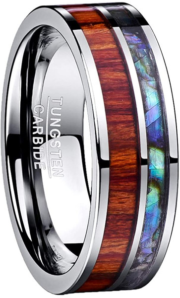 8mm Mens Wood and Shell Inlay Tungsten Carbide Ring Wedding Band Flat Edge Comfort Fit Size 7-12