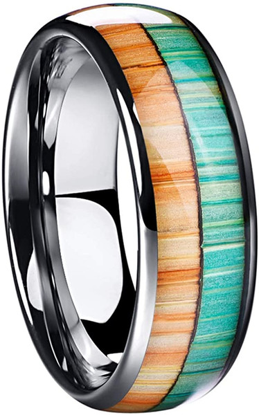 8mm Wood Inlay Tungsten Carbide Rings for Men Wedding Band Comfort Fit Size 7-12