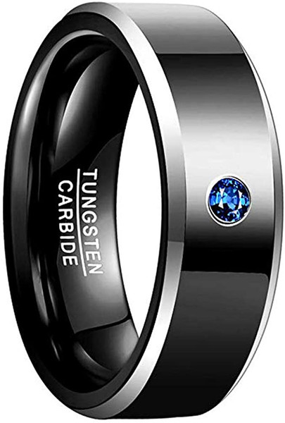 8mm Mens Black Wedding Band Polished Beveled Edge Tungsten Carbide Rings with Blue CZ Comfort Fit Size 7-12