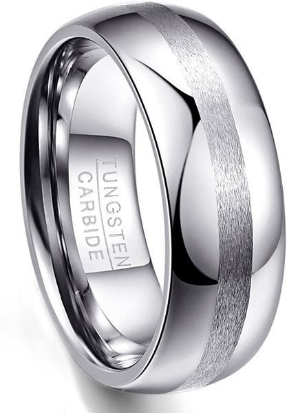 8mm Domed Tungsten Carbide Rings for Men Women Wedding Bands with Brushed Center Comfort Fit Size 7-12
