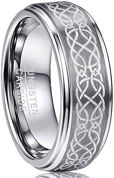 Men's 8mm Laser Celtic Knot Brushed Tungsten Carbide Wedding Band Rings Polished Step Edge Size 6-14