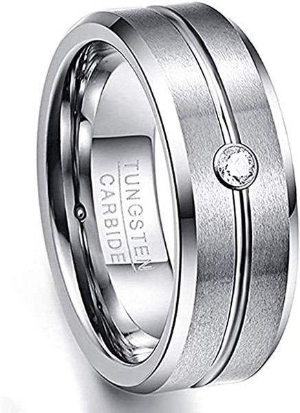 8mm Mens White CZ Wedding Band Grooved Tungsten Carbide Ring Beveled Edge Comfort Fit Size 7-12