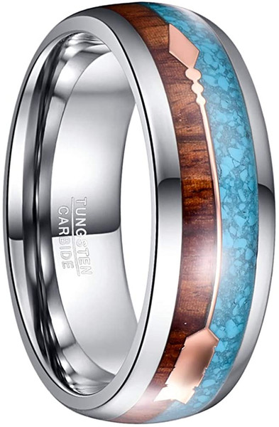 8mm Hawaiian Koa Wood and Turquoise Inlay Tungsten Wedding Rings with Rose Gold Arrow Comfort Fit Size 7-12
