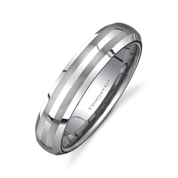 Tungsten Ring for Women, Classy Ring with 2 Brush Lines, Domed, Bevel Edge, 6MM