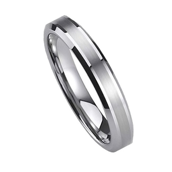 Tungsten Ring for Women, Classy Ring, Flat Top with 2 Brush Lines, 6MM