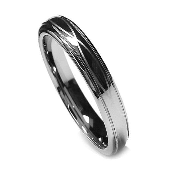 Tungsten Ring for Women, Infinity Ring with Laser Etched Design, High Polish, 6MM