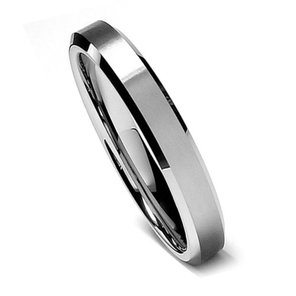 Tungsten Ring for Women, Classy Ring with Brush Flat Top, Bevel Edge, High Polish, 6MM