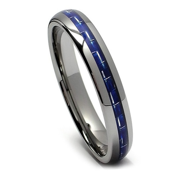 Tungsten Ring for Women, Fashion Ring with Blue Carbon Fiber, High Polish, 6MM