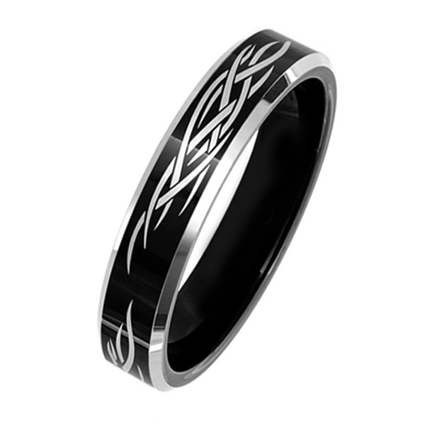 Black Tungsten Ring for Women, Wedding Band with Laser Tribal Design, High Polish, 6MM