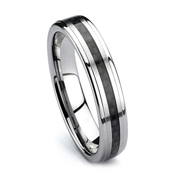 Tungsten Ring for Women, Wedding Band with Black Carbon Fiber, High Polish, 6MM