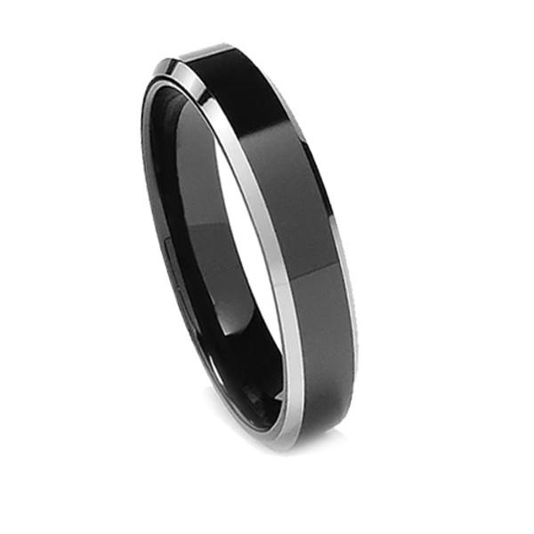 Tungsten Ring for Women, Black Tungsten, Flat Top, Bevel Edge, 6MM
