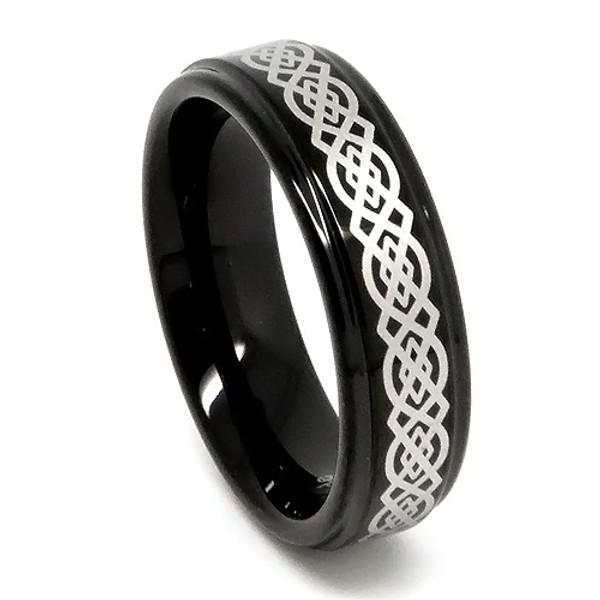 Tungsten Ring for Women, Black Tungsten Ring, Laser Etched Celtic Design - 6MM