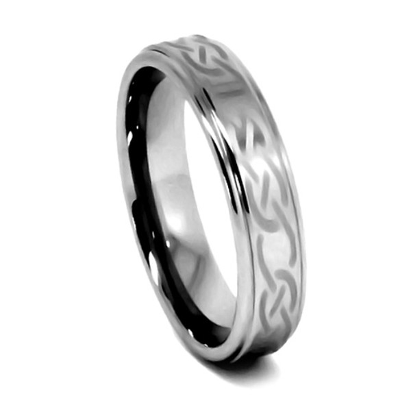 Tungsten Ring for Women, Flat Top, High Polished Laser Etch Infinity Knot - 6MM