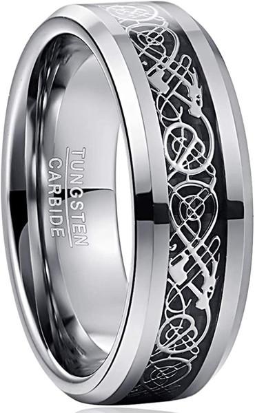 8mm Mens Celtic Dragon Tungsten Carbide Wedding Band Black / Silver Tone Carbon Fiber Engagement Ring Size 5-14