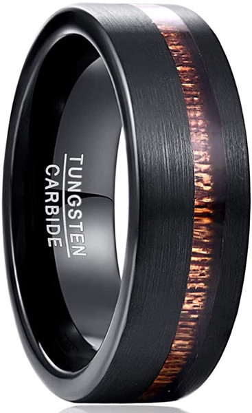 8mm Mens Black Tungsten Carbide Wedding Band Hawaiian Koa Wood Engagement Ring Brushed Finish Comfort Fit Size 7-12